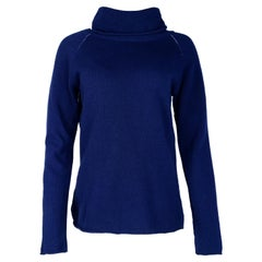Maison Martin Margiela Blue Wool Sweater W/ Cowl Turtleneck Sz Large