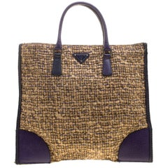 9096adc647d7 Prada Two Tone Taupe Saffiano Lux Leather Shopper Tote at 1stdibs