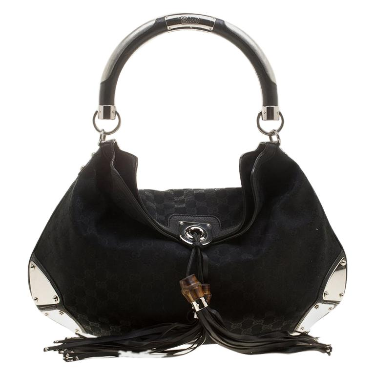 53bcc5394fd Gucci Black GG Canvas Medium Babouska Indy Top Handle Bag For Sale ...