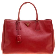Prada Red Saffiano Lux Leather Large Tote
