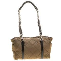 Prada Khaki Quilted Nylon Shoulder Bag