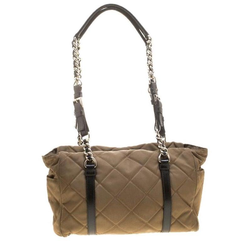 effed5e48d7c Prada Khaki Quilted Nylon Shoulder Bag For Sale at 1stdibs