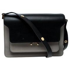 Marni Grey/Black Leather Medium Trunk Shoulder Bag