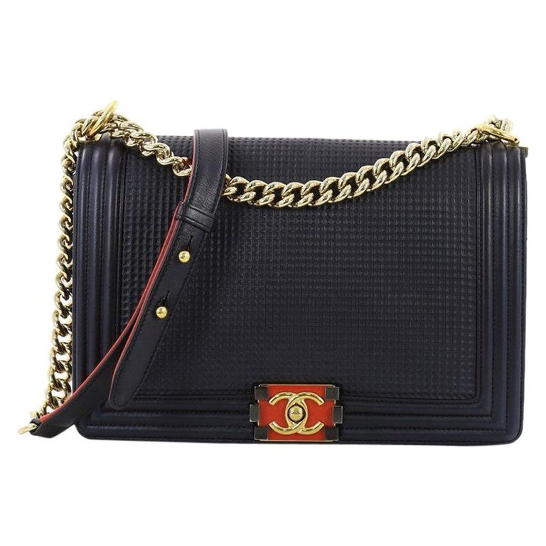 8e2d748ef6f670 Chanel Boy Flap Bag Cube Embossed Lambskin New Medium For Sale at ...