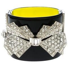 Chanel Crystal Embellished Black Resin Silver Tone Wide Cuff Bracelet 17cm