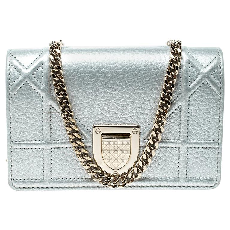 cb9340d3ce Dior Silver Leather Micro Baby Diorama Bag For Sale at 1stdibs