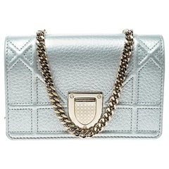 Dior Silver Leather Micro Baby Diorama Bag
