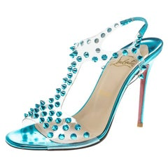 c20adf917529 Christian Louboutin Turquoise Spiked PVC J-Lissimo T Strap Sandals Size 37