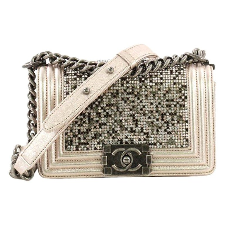 485e8f9799f2 Chanel Boy Flap Bag Strass Embellished Leather Small For Sale at 1stdibs