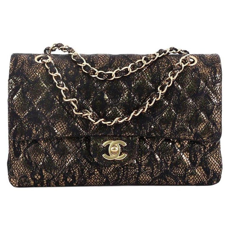 6f8e04f74d06 Chanel Classic Double Flap Bag Quilted Lace Motif Goatskin Medium For Sale