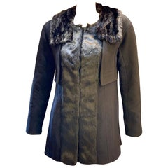 Classic Louis Vuitton Paris Ladies Black Wool Mink Collar and Silk Coat Size 38