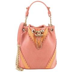 Chanel CC Drawstring Bucket Bag Whipstitch Chevron Leather and Python Small