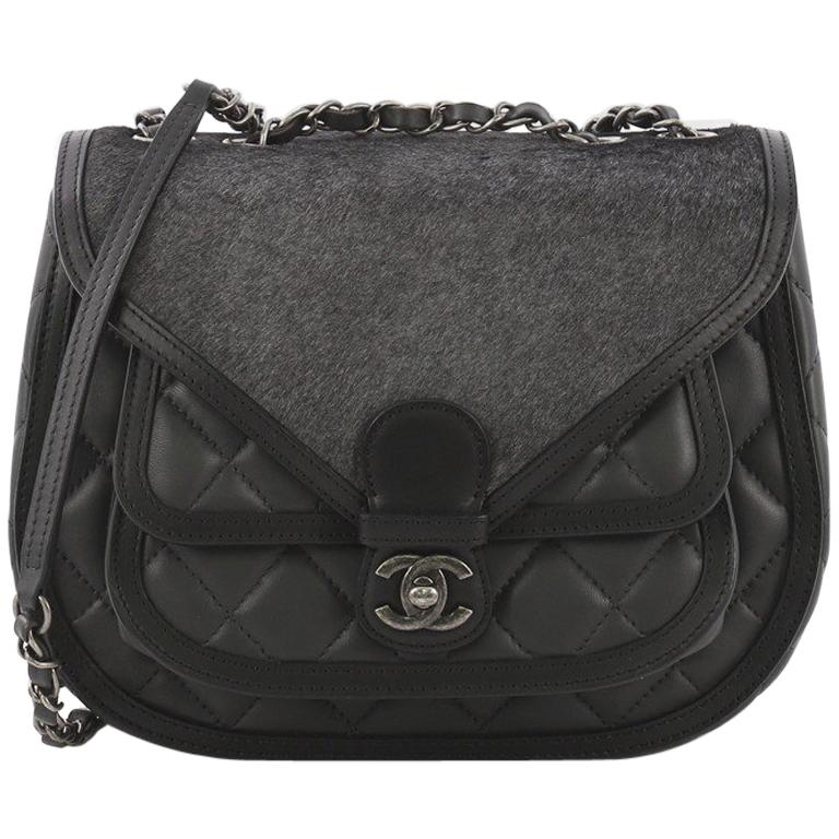 d0965d3847a7 Chanel Saddle Bag Quilted Calfskin and Pony Hair Medium at 1stdibs
