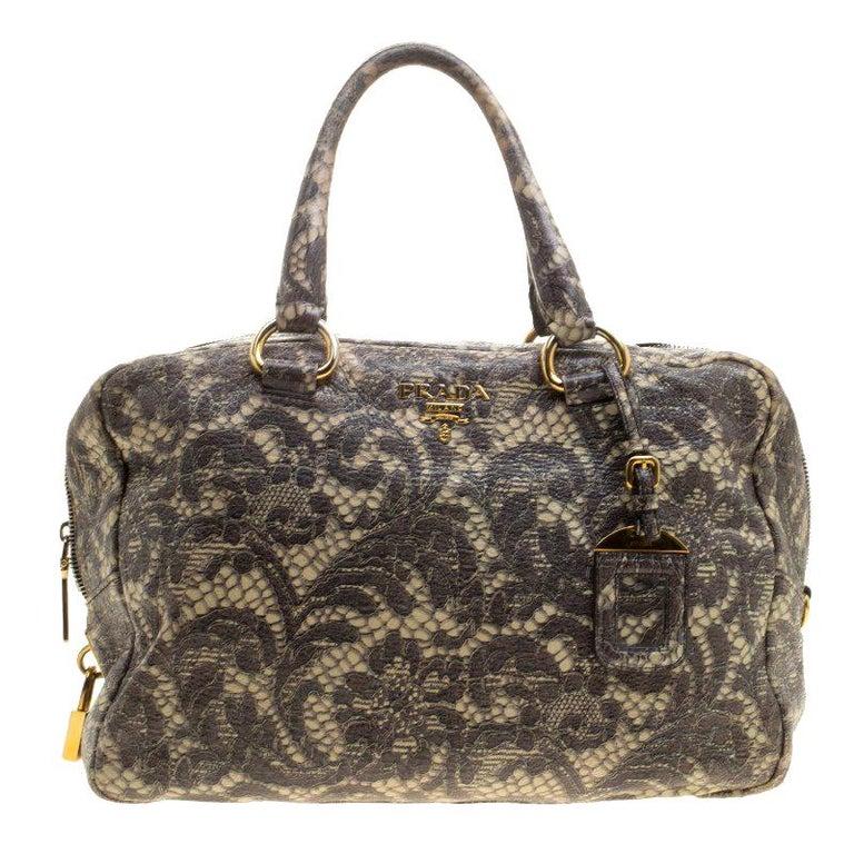 1c9562733b48b6 Prada Beige Talco Lace Print Cervo Leather Bowling Bag For Sale at ...