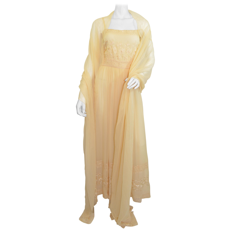 Vintage Christian Dior Boutique Silk Chiffon Gown with Shawl