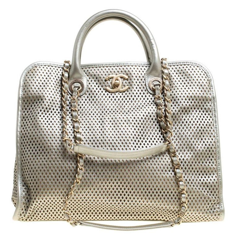 30dd650522fa Chanel Grey Perforated Leather Up in the Air Tote For Sale at 1stdibs
