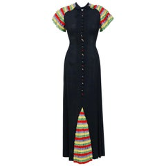 1930's Black Crepe & Rainbow Ruffle Silk Tie-Neck Hourglass Full Length Dress