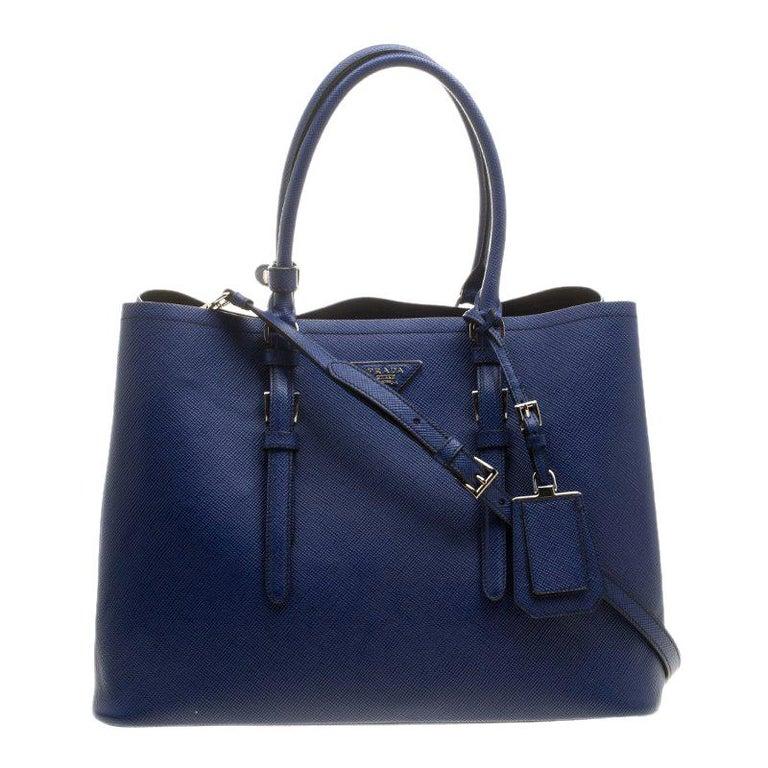 320bc3da4278 Prada Blue Saffiano Cuir Leather Convertible Tote For Sale at 1stdibs
