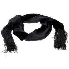 Gucci Black Velvet and Satin Guccissima Pattern Tassel Detail Scarf