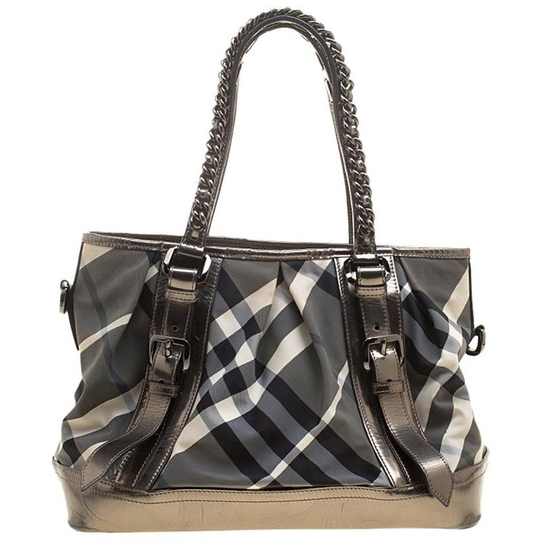 d549cde1c Burberry Metallic Beat Check Nylon and Leather Medium Lowry Tote For Sale