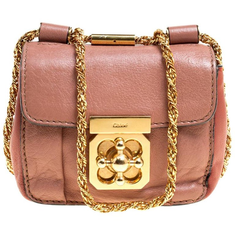 b53f27b3b Chloe Two Tone Peach Leather Mini Elsie Crossbody Bag For Sale at ...