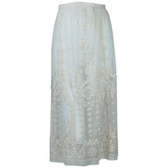 Edwardian Embroidered Net Skirt with Weighted Crystal Hem – Jacome Estate