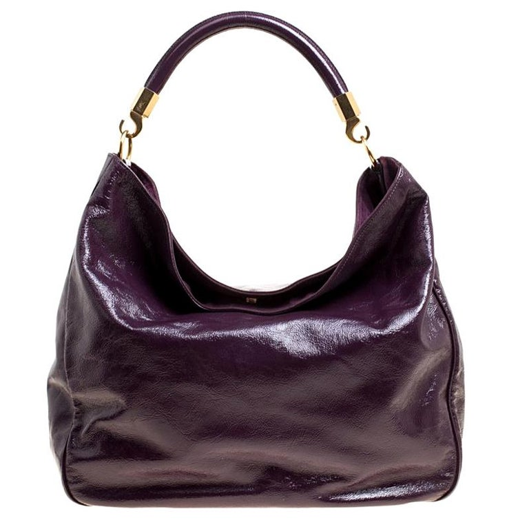 a74b9a1bed Saint Laurent Burgundy Patent Leather Roady Hobo For Sale at 1stdibs