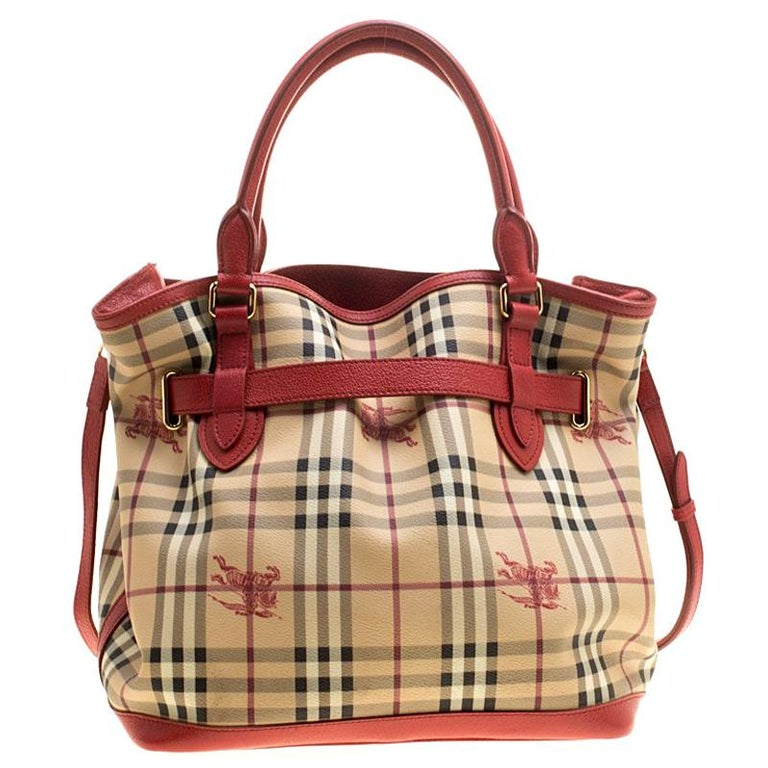 0b32fa814b8a Burberry Beige Red Haymarket Check PVC and Leather Medium Golderton Tote  For Sale