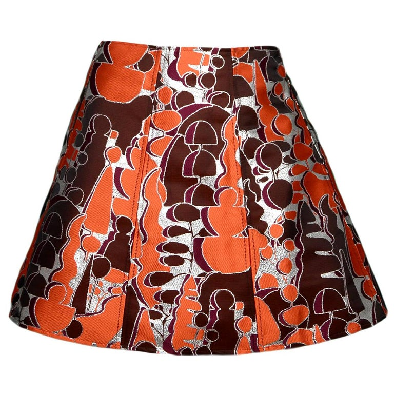 f133c821ab Opening Ceremony Orange Brown Silver Metallic Printed Skirt Sz 8 For Sale