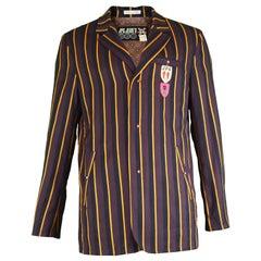 Jean Paul Gaultier Vintage Men's Wool & Cotton Stripe Embroidered Boating Blazer