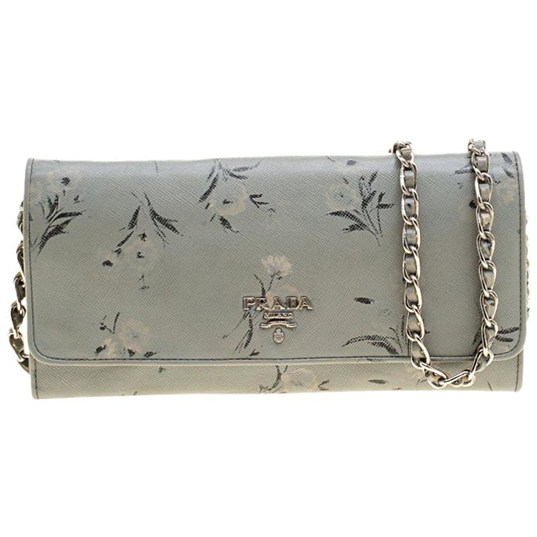 c5ecf2f88d14 Prada Grey Floral Print Saffiano Leather Wallet on Chain For Sale at ...