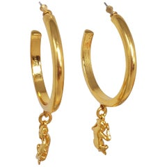 Oscar de la Renta Open Hoop and Dangling Monkey Post Earrings in Gold
