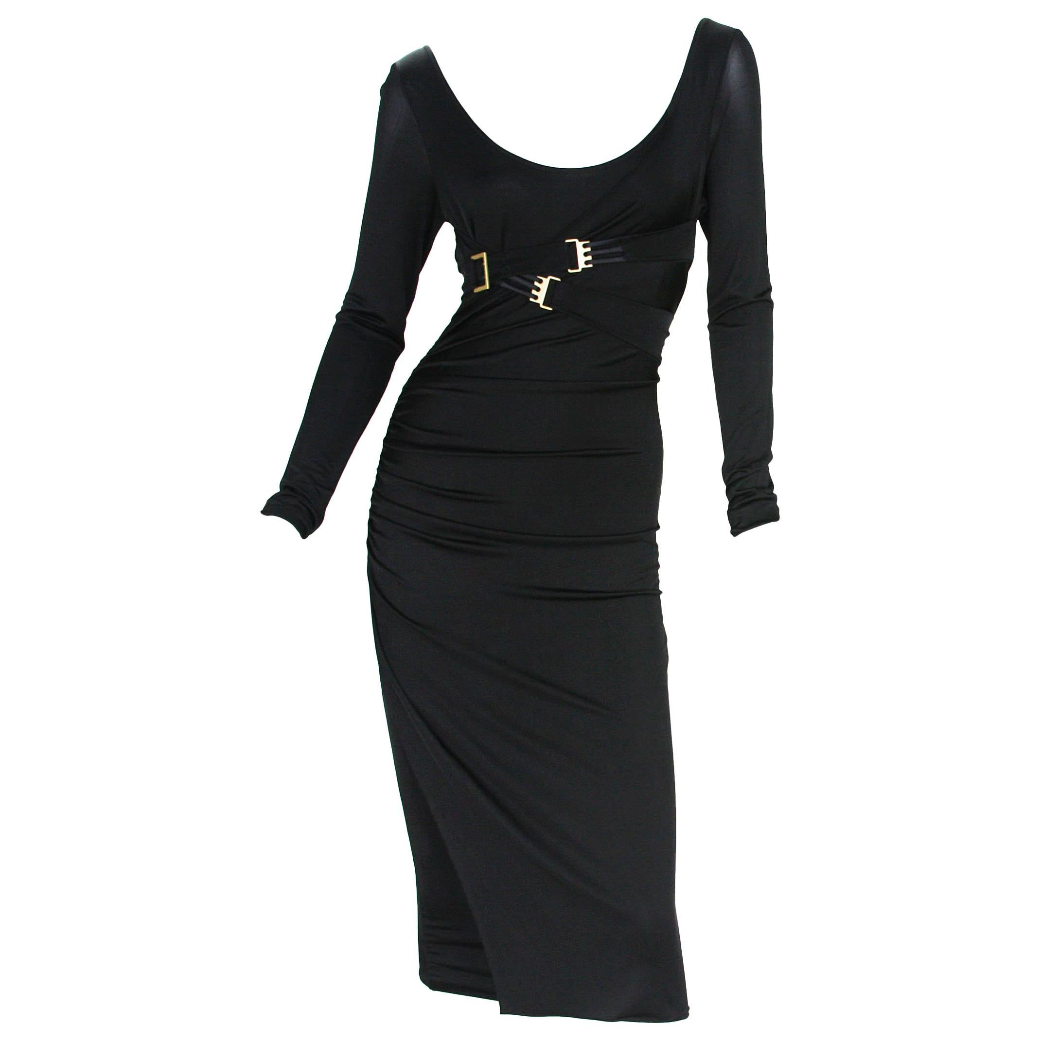 98d970122 2 IN 1 Rare Tom Ford for Gucci 2003 Collection Jersey Bondage Buckle Dress  M S For Sale at 1stdibs