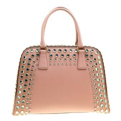Prada Blush Pink/Burgundy Saffiano Lux Leather Pyramid Frame Top Handle Bag