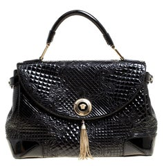 Versace Black Patent Leather Altea Top Handle Bag