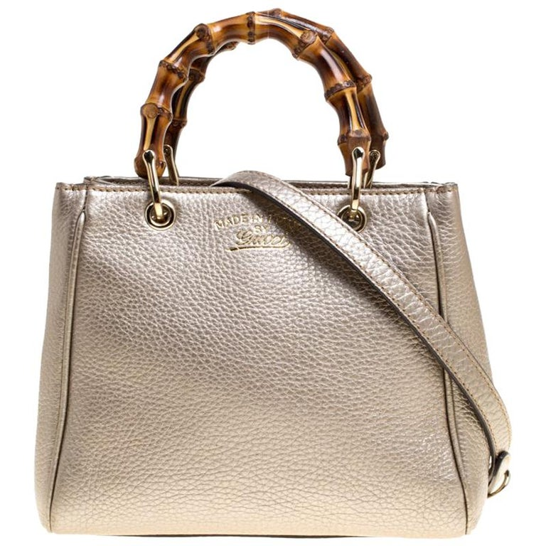 7cbb08506adc Gucci Metallic Beige Leather Bamboo Top Handle Shopper Tote For Sale ...