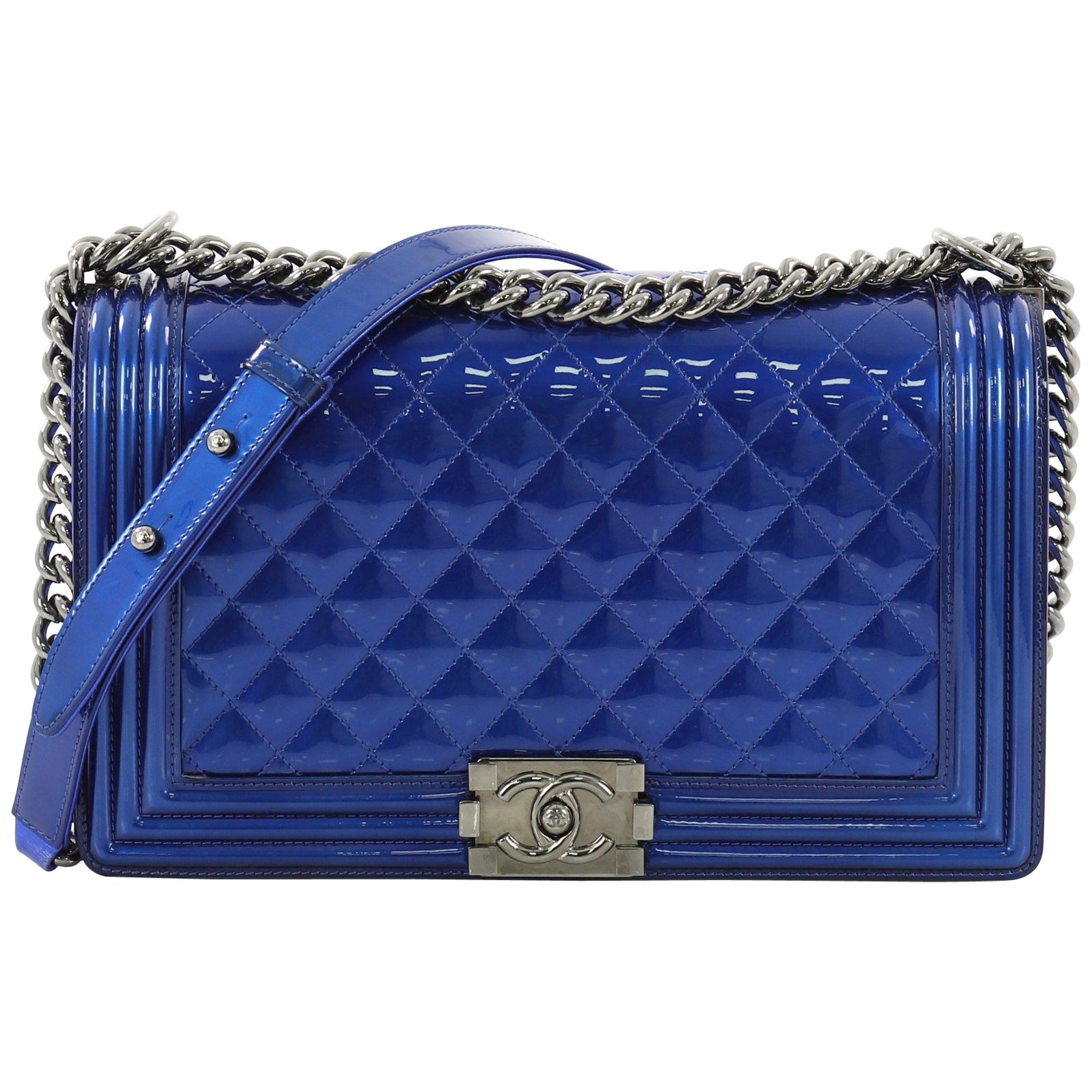2c739ffd2ee0 Chanel Boy Flap Bag Quilted Patent New Medium at 1stdibs