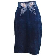Roberto Cavalli 1970s Vintage Dark Teal Suede Art Nouveau Butterfly Print Skirt