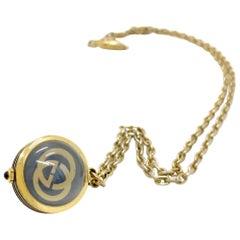 Gucci 1970s Vintage Watch Pendant Necklace