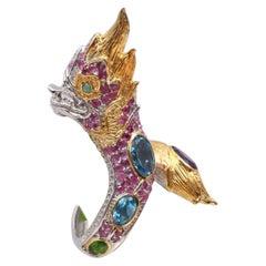 Fierce Dragon Sterling Gold Gemstone Dragon Ring-Ruby,Amethyst, Emerald,etc.