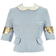 Vivienne Westwood blue and white striped back to front blouse, ss 1989