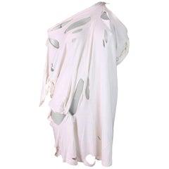 S/S 2009 Maison Martin Margiela Runway White Destroyed Shirt Dress M