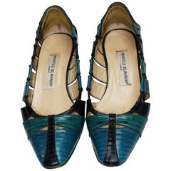 a vintage pair of Manolo Blahnik Three Shades of Blue shoes