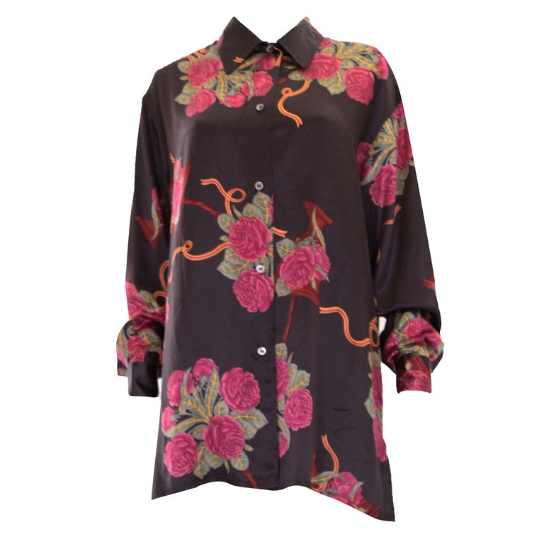 A vintage 1980s Silk floral printed Overshirt by Salvatore Ferragamo For Sale