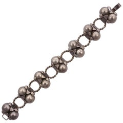Mexican Hand Made Silver Double Ball Los Cocos Design Link Bracelet, circa 1940s