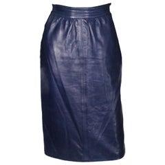 A vintage 1980s Blue Leather Skirt by Yves Saint Laurent Rive Gauche