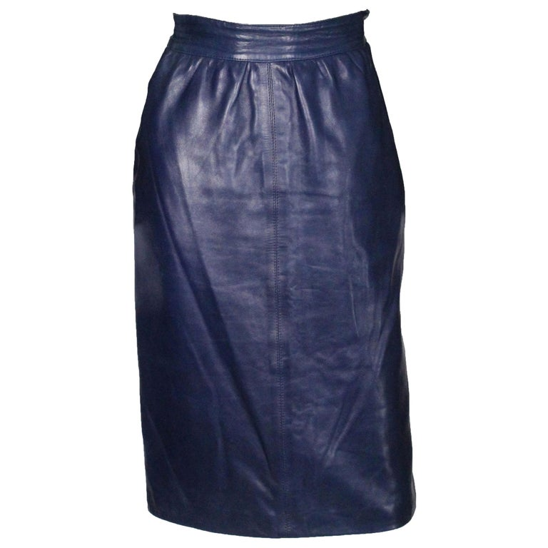 A vintage 1980s Blue Leather Skirt by Yves Saint Laurent Rive Gauche For Sale