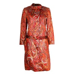 A vintage 1970s Bill Blass paisley print orange Coat