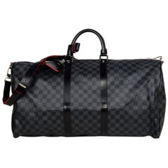 Louis Vuitton RARE Damier Graphite/Rouge Trim Keepall Bandouliere 55 Duffel Bag