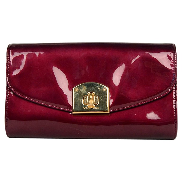 Sergio Rossi Burgundy Patent Leather Clutch W/ Wrist Strap For Sale